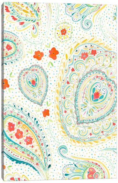 Watercolor Paisley Teal Canvas Print #JMO33