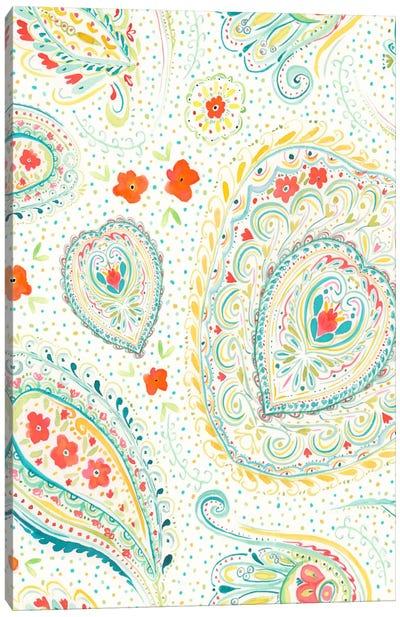 Watercolor Paisley Teal Canvas Art Print