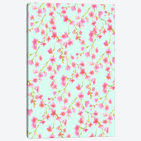 Cherry Blossom Mint Canvas Print #JMO49} by Jacqueline Maldonado Canvas Art