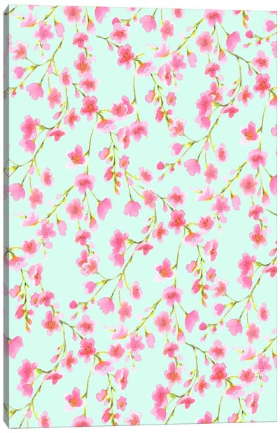 Cherry Blossom Mint Canvas Art Print