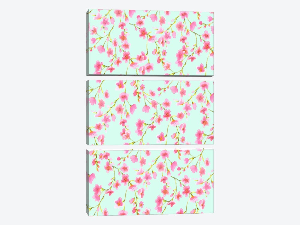 Cherry Blossom Mint by Jacqueline Maldonado 3-piece Canvas Print