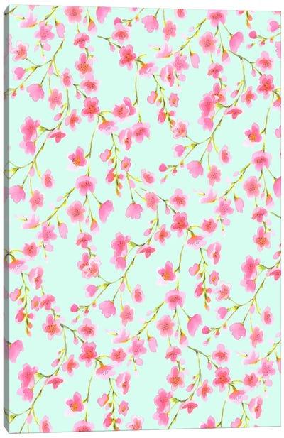 Cherry Blossom Mint Canvas Art Print
