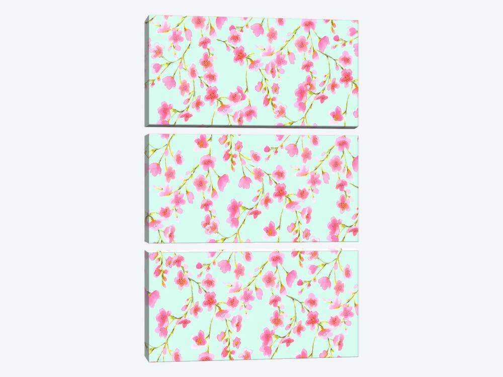 Cherry Blossom Mint by Jacqueline Maldonado 3-piece Canvas Print