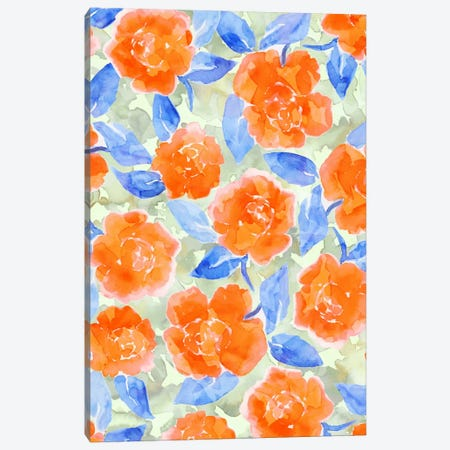 Cottage Peonies Orange Canvas Print #JMO54} by Jacqueline Maldonado Canvas Art