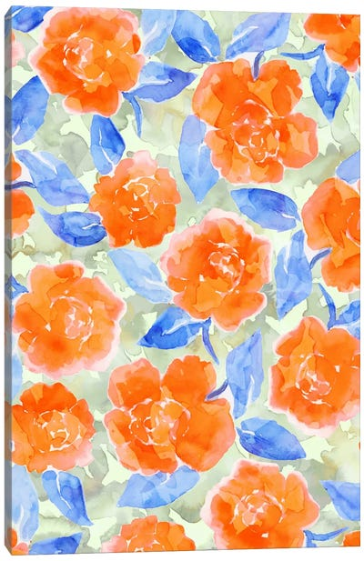 Cottage Peonies Orange Canvas Art Print