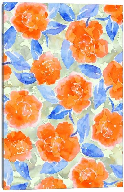 Cottage Peonies Orange Canvas Art Print
