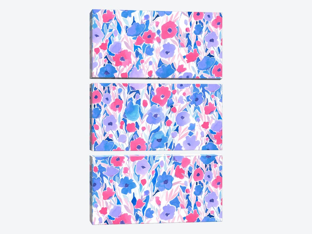 Flower Field Lilac Blue by Jacqueline Maldonado 3-piece Canvas Print