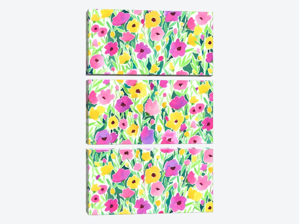 Flower Field Print by Jacqueline Maldonado 3-piece Canvas Wall Art
