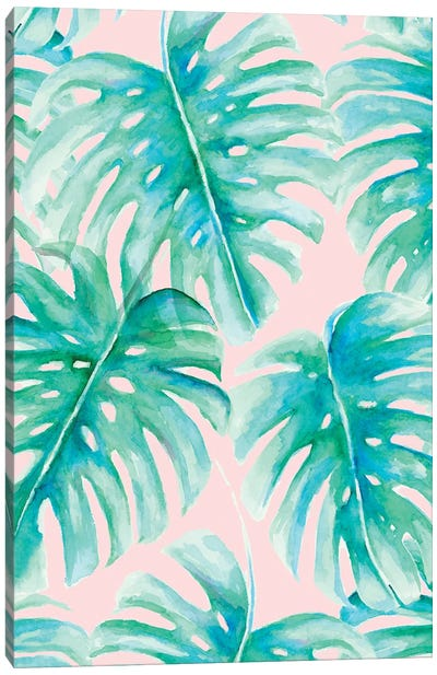 Paradise Palms Blush Canvas Art Print