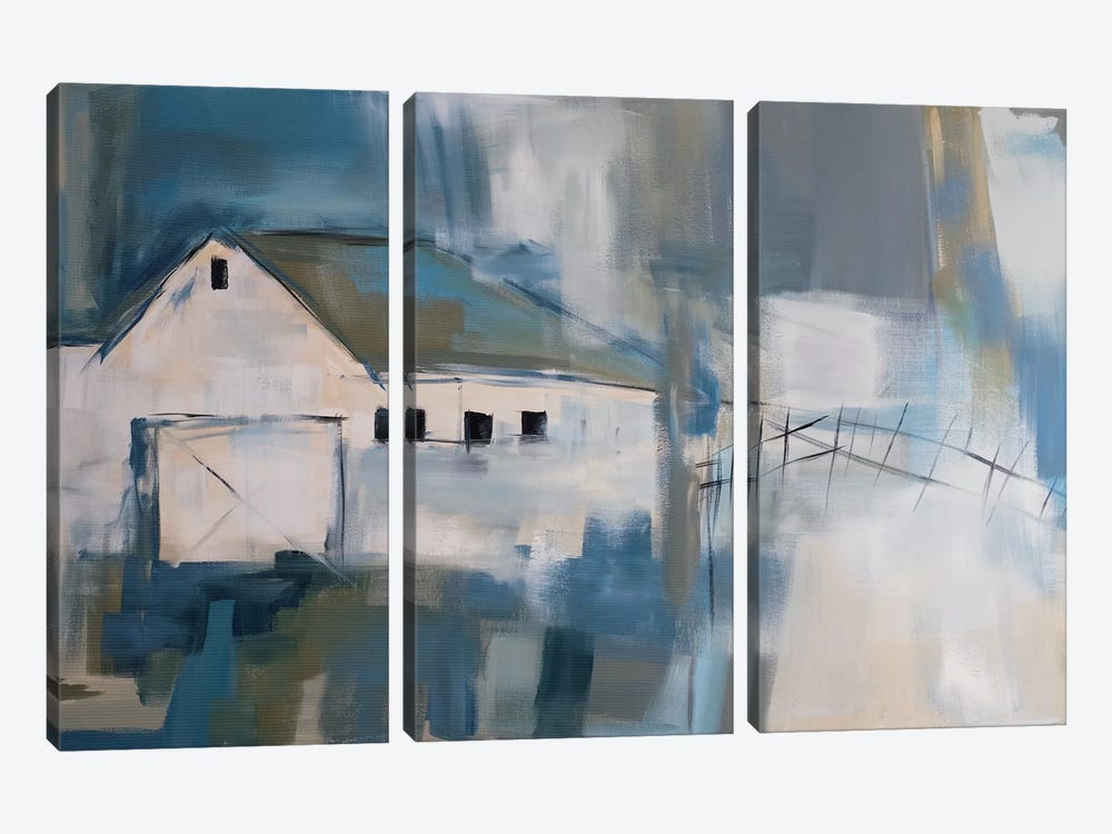 White Barn by Jane M. Robinson 3-piece Canvas Print