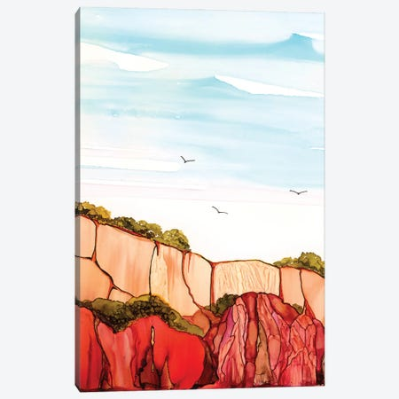 Red Cliffs At Falesia Canvas Print #JMW60} by Jan Matthews Canvas Art
