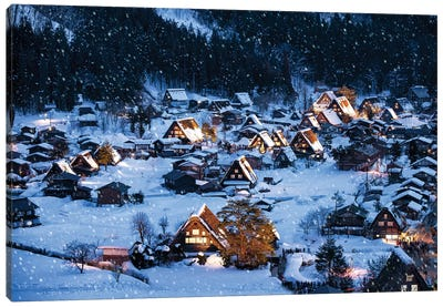 Shirakawago In Winter Canvas Art Print