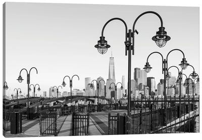 Manhattan Skyline With One World Trade Center Seen From Liberty State Park Canvas Art Print