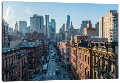 View Of China Town With Lower Manhattan Skyline In The Background, New York City, Usa Canvas Art Print