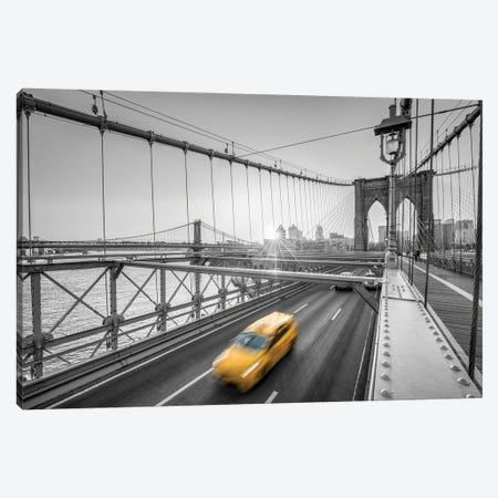 Yellow Cab Crossing The Brooklyn Bridge, New York City Canvas Print #JNB1046} by Jan Becke Canvas Art Print