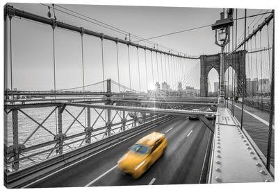 Yellow Cab Crossing The Brooklyn Bridge, New York City Canvas Art Print