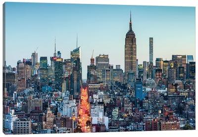 Manhattan Skyline With Empire State Building At Dusk Canvas Art Print