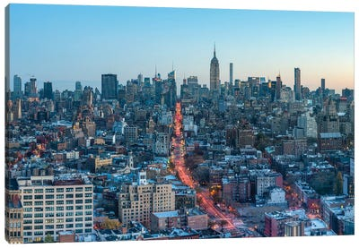 Aerial View Of Midtown Manhattan And Empire State Building At Dusk Canvas Art Print