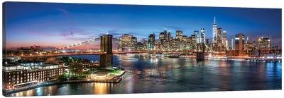 Brooklyn Bridge Panorama At Night, New York City, Usa Canvas Art Print