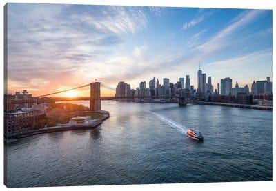 Brooklyn Bridge And Manhattan Skyline At Sunset, New York City Canvas Art Print