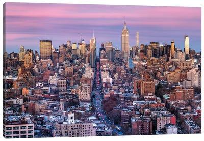 Manhattan Skyline At Sunset, New York City Canvas Art Print