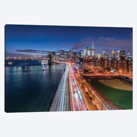 View Of The Lower Manhattan Skyline At Night, New York City, Usa Canvas Print #JNB1059} by Jan Becke Canvas Print