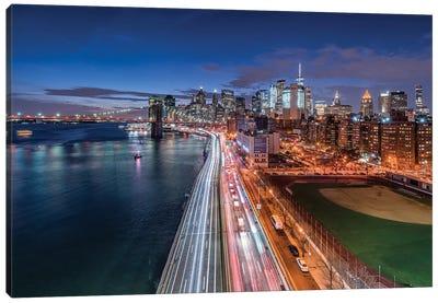 View Of The Lower Manhattan Skyline At Night, New York City, Usa Canvas Art Print