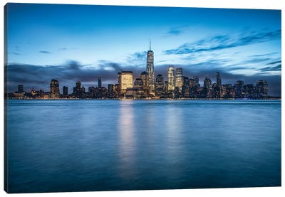 Lower Manhattan Skyline With One World Trade Center At Dusk Canvas Art Print