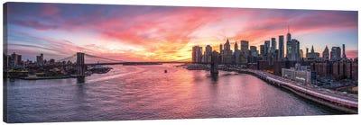 Panoramic View Of The Manhattan Skyline And Brooklyn Bridge At Sunset Canvas Art Print
