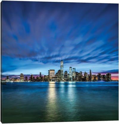 Manhattan Skyline At Night Seen From New Jersey Canvas Art Print
