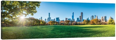 Panoramic View Of Sheep Meadow In Central Park, New York City, Usa Canvas Art Print