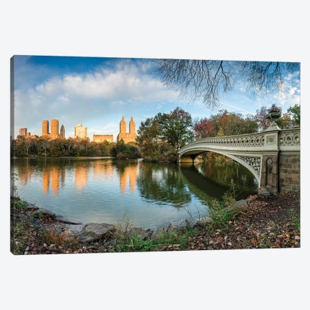 Bow Bridge And The Lake At Sunrise, Central Park, New York City Canvas Print #JNB1069} by Jan Becke Canvas Art