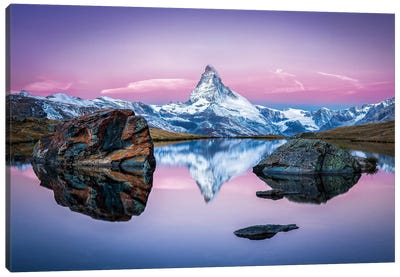 Stellisee And Matterhorn In Winter Canvas Art Print