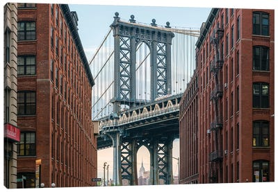 Manhattan Bridge Seen From Dumbo In Brooklyn, New York City Canvas Art Print