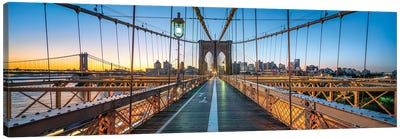 Panoramic View Of The Brooklyn Bridge At Sunrise, New York City, Usa Canvas Art Print