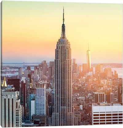 View Of The Empire State Building At Sunset, New York City, Usa Canvas Art Print