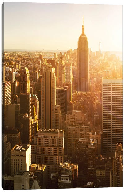 View Of The Empire State Building In Midtown Manhattan At Sunset, New York City, Usa Canvas Art Print