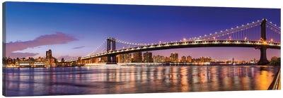 Manhattan Bridge Panorama At Night, New York City, Usa Canvas Art Print