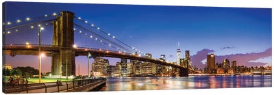 Panoramic View Of The Brooklyn Bridge At Night, New York City, Usa Canvas Art Print