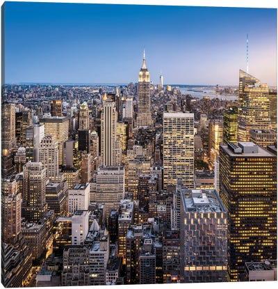 Manhattan Skyline With Empire State Building At Dusk, New York City, Usa Canvas Art Print