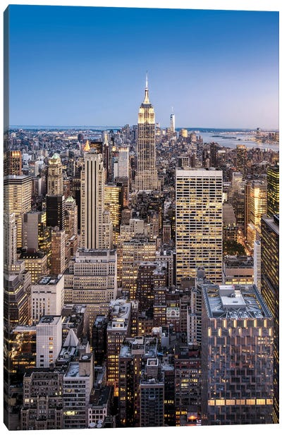 Empire State Building And Manhattan Skyline In New York City Canvas Art Print