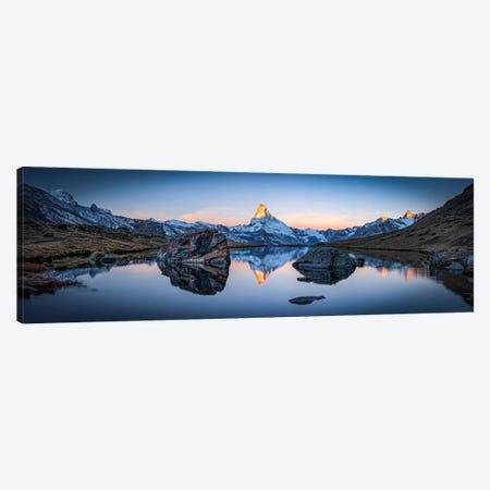 Stellisee And Matterhorn Panorama Canvas Print #JNB107} by Jan Becke Canvas Art Print