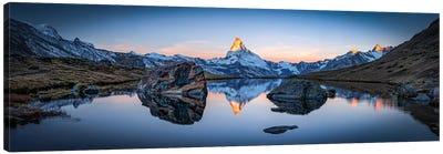 Stellisee And Matterhorn Panorama Canvas Art Print