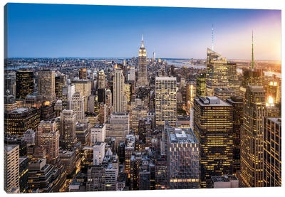 View Of Midtown Manhattan With Empire State Building, New York City, Usa Canvas Art Print