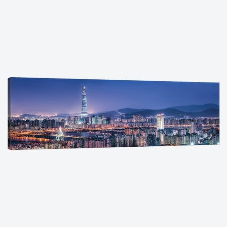Seoul Skyline At Night With View Of Lotte World Tower Canvas Print #JNB1088} by Jan Becke Canvas Art