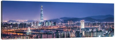 Seoul Skyline At Night With View Of Lotte World Tower Canvas Art Print