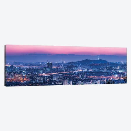 Seoul Skyline At Dusk With View Of Namsan Mountain And N Seoul Tower Canvas Print #JNB1089} by Jan Becke Canvas Artwork