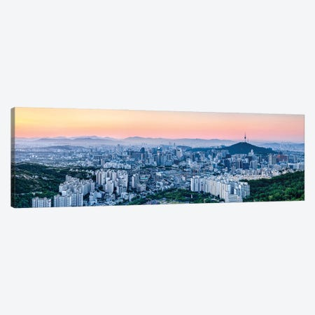 Seoul Skyline At Sunset With Namsan Mountain And N Seoul Tower Canvas Print #JNB1097} by Jan Becke Canvas Wall Art