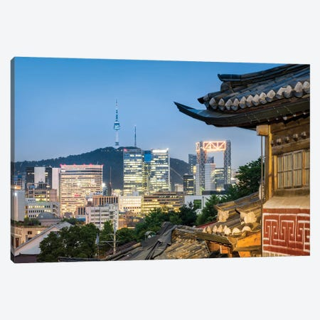 Historic Bukchon Hanok Village In Seoul With View Of The N Seoul Tower And Namsan Mountain Canvas Print #JNB1098} by Jan Becke Art Print