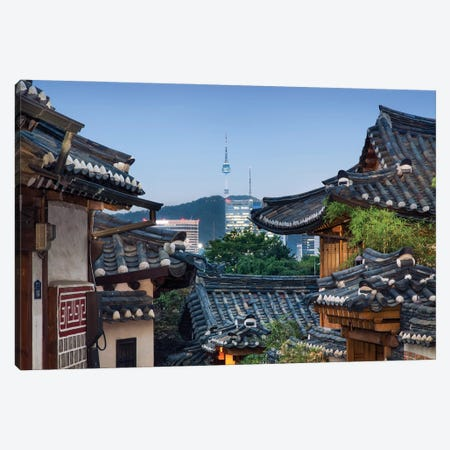 Historic Bukchon Hanok Village In Seoul With View Of The N Seoul Tower And Namsan Mountain At Night Canvas Print #JNB1099} by Jan Becke Canvas Print